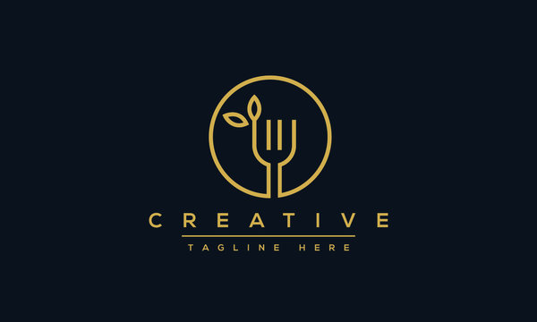 Fork leaf organic logo design. Healthy food icon template.