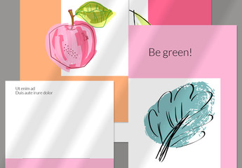 Hand Drawn Postcard Layouts with Leaf, Tree, and Apple