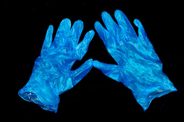 Blue Medical Latex Gloves Protection In Case Of Virus