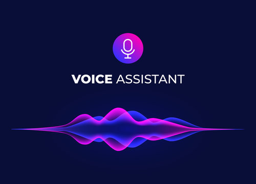Voice assistant concept page. Personal mobile voice recognition, abstract sound waves. Microphone icon and neon music equalizer. Smart home ui element. Speaking waveform, vector flow.