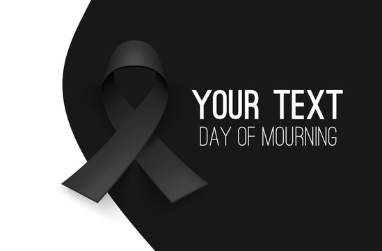 Awareness ribbon. Mourning and melanoma symbol. Black background, backdrop. Templates for placards, banners, flyers, presentations, reports, invitation, posters, brochure, voucher discount