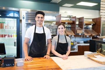 Customer service in a bakery shop Fototapete