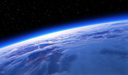 Earth from space, sunset or sunrise. Astronomy background.