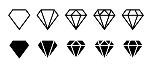 Diamond icon. Big collection quality diamonds. Linear diamond style and silhouette. Royal diamond icons collection set. Vector illustration
