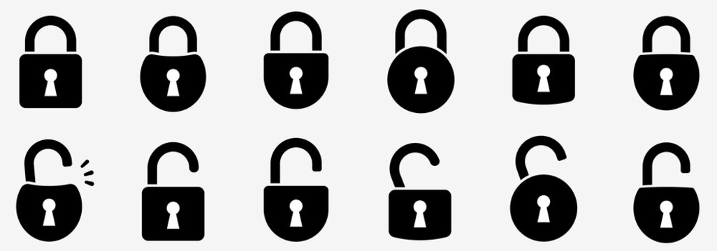 Locks icons set. Locked and unlocked lock. Collection icon of close and open lock. Lock and unlock simbol. Lock web icon set - stock vector.