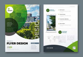 Flyer Layout with Layered Green Circle Shapes
