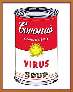 Coronavirus Pop Art Soup Can Warhol Style