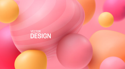 Abstract background with dynamic 3d spheres. Plastic pastel pink and yellow bubbles. Vector illustration of glossy soft balls. Modern trendy banner or poster design