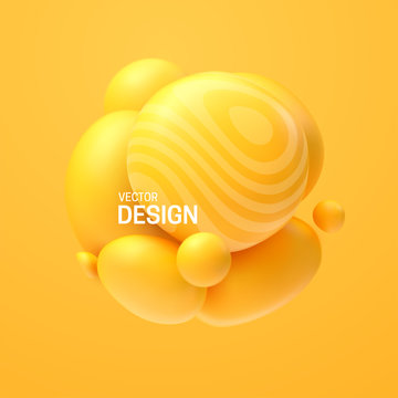 Abstract composition with 3d spheres cluster. Colorful glossy bubbles. Vector realistic illustration of yellow soft balls. Trendy banner or poster design. Futuristic background