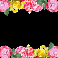 Wall Mural - Beautiful floral pattern of begonias and roses. Isolated