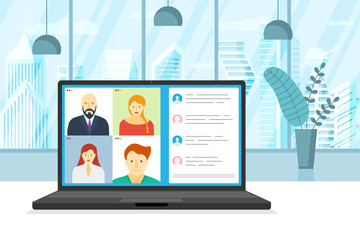 People group on laptop screen taking part in online conference. Virtual work meeting and distance education webinar or videoconferencing. Video conferencing and web communication illustration