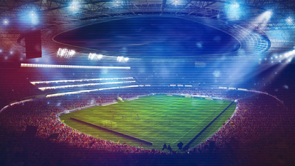 Background of a soccer stadium with light effects full of fans during a night game. 3D rendering Fotobehang
