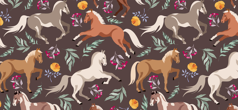 Horses pattern. Wild horses and forest flowers and tree branches. Earthy brown horse pattern. Dark horse pattern. Modern illustration. Beautiful seamless design for wrapping paper, textile, web.