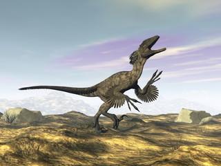Deinonychus dinosaur roaring head up by day -3D render