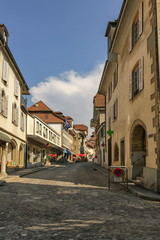 Street in Estavayer-le-Lac by day, Fribourg, Switzerland