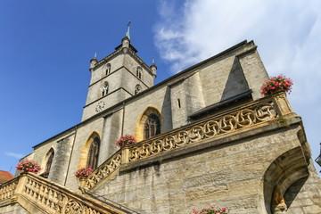Saint-Laurent collegiate church in Estavayer-le-lac by day, Fribourg, Switzerland
