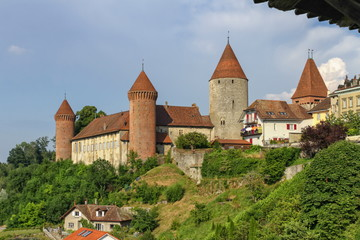 Chenaux Castle at Estavayer-le-Lac by day, Fribourg, Switzerland