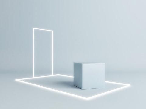 Mock up studio - geometry composition for product presentation, 3d render 3d illustration