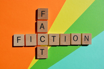 Fact, Fiction, words in 3d wood alphabet letters