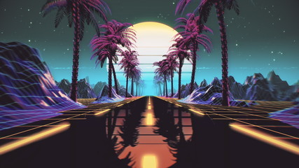 Poster Retro 80s retro futuristic sci-fi background. Retrowave VJ videogame landscape with neon lights and low poly terrain grid. Stylized vintage cyberpunk vaporwave 3D render with mountains, sun and stars. 4K