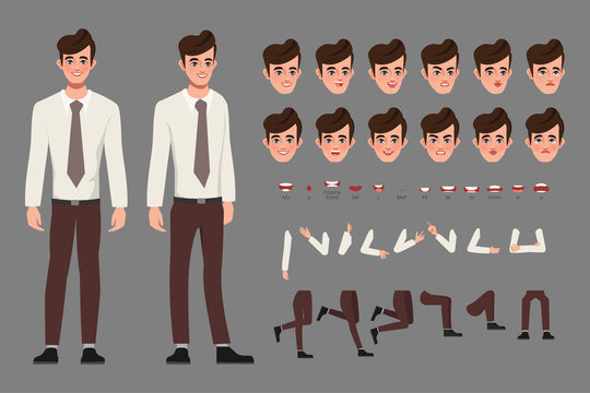 Cartoon character with business woman in casual wear for animation. Front, side, behaviour character. Separate parts of body. Flat vector illustration.