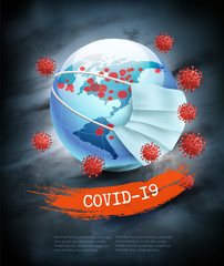 Spoed Fotobehang Wanddecoratie met eigen foto Coranavirus pandemic background. Earth globe wearing protective Medical Surgical Face mask. Disaster gloomy backdrop. Vector