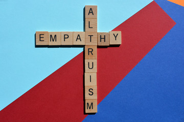 Altruism and empathy, crossword on colorful background