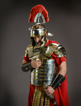 Roman soldier in actitude of submission