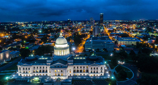 ARKANSAS STATE CAPITOL BUILDING NIGHT CITY LIGHTS
