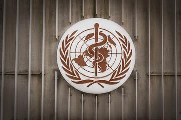 World Health Organization (WHO / OMS) Logo at WHO Headquarters - Geneva, Switzerland