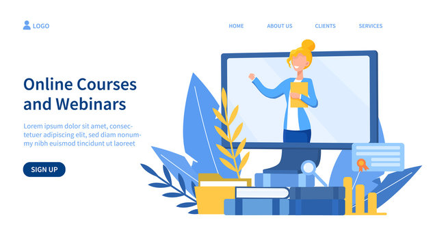 Illustrated online courses concept with teacher on screen. Vector illustration