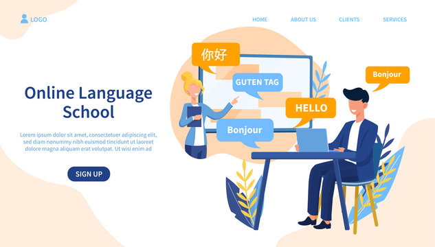 Illustrated online language school concept with man on laptop. Vector illustration