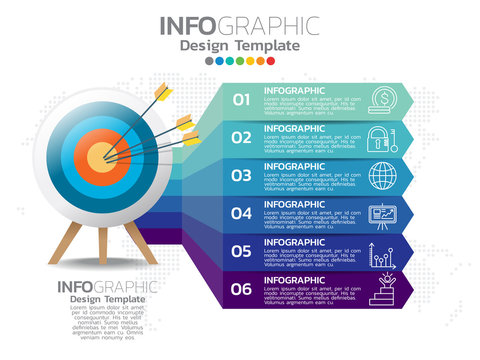 Business 6 step process chart infographics with numbers.