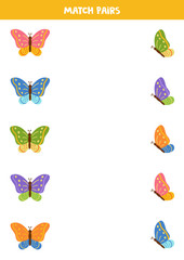 Match two pictures of butterfly by pairs. Printable worksheet.