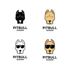 collection set pit bull dog head logo icon design wear sunglasses