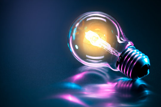 abstract light bulb with a glow
