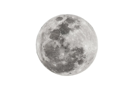 Full moon isolated on white background.