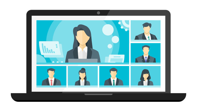 7 Panels Online Virtual Remote Meetings, TV Video Web Conference Teleconference Female Main. Company CEO President Executive Manager Boss Employee Team Work Learn From Home WFH Live Stream Webinars