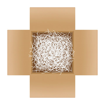 white shredded paper in cardboard box brown open for gift pack, shredded paper in the box brown top view for packaging, doodle shredded paper for recycle waste, scrap paper garbage isolated on white