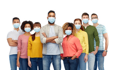 health, quarantine and pandemic concept - group of people wearing protective medical masks for protection from virus Fotobehang