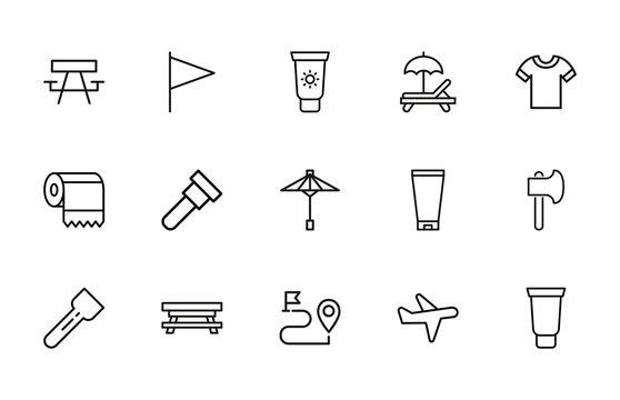 Big set of travel line icons.