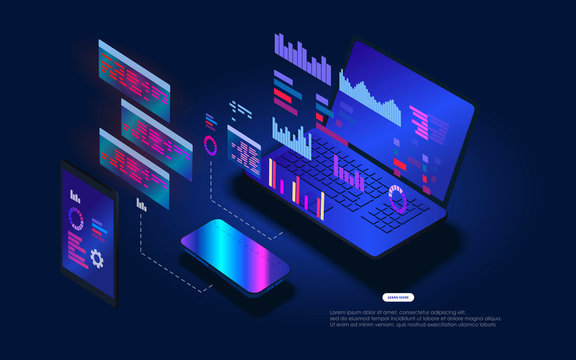 Web template for programming and software developmen. Floating holographic program code on a laptop screen. The software coding process. Platform programming and testing training