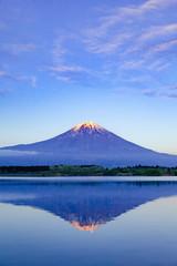 Wall Mural - 夕日を浴びた富士山、静岡県富士宮市田貫湖にて