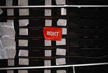 A 'reject' label is seen on the side of a crate of blueberries donated from a supermarket to the FareShare food redistribution centre in Deptford, as the spread of the coronavirus disease (COVID-19) continues, in south east London
