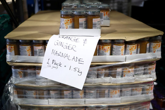 Jars of marmalade are seen ready to be picked for distribution at the FareShare food redistribution centre in Deptford, as the spread of the coronavirus disease (COVID-19) continues, in south east London