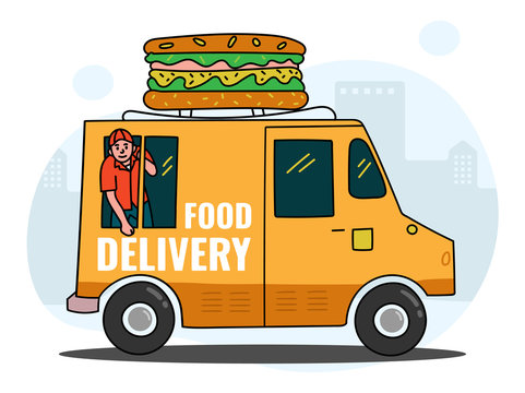 Online delivery Services,  Food order in the internet, Food delivery, online order tracking, delivery home and office. Warehouse, truck,  delivery man, Vector illustration,