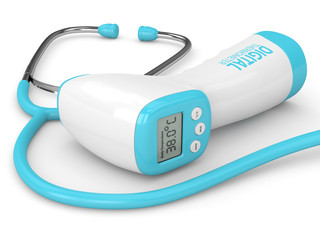 3d render of digital infrared no touch thermometer and stethoscope