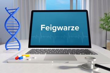 Feigwarze – Medizin, Gesundheit. Computer im Büro mit Begriff auf dem Bildschirm. Arzt, Krankheit, Gesundheitswesen