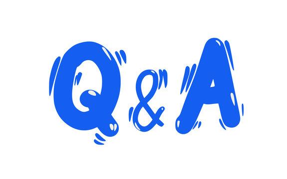 Q and A text emblem. Vector flat illustration.