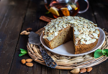 almond flour pound cake, gluten free and keto baking recipes,  decorated with sliced almonds